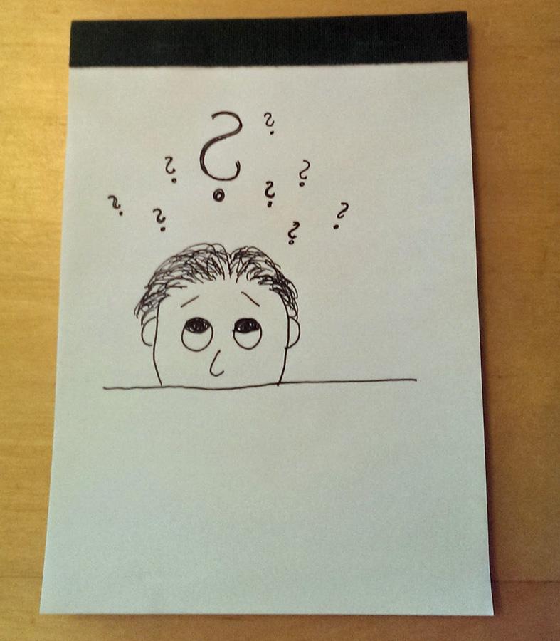 Zeichnung - Männerkopf mit Fragezeichen